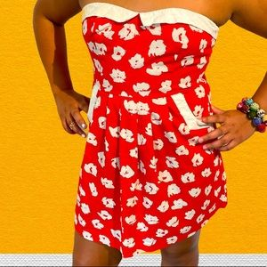 Urban Outfitters COPE strapless red dress